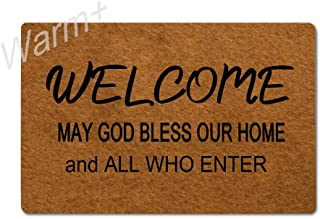 Warm+ Doormat Welcome May God Bless Our Home and All Who Enter Door Mat with Rubber Backing Home Decor Indoor Mats for Entry Front Floor Mats 23.6 x 15.7 Inches