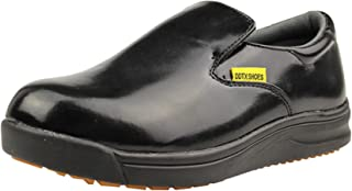 DDTX Slip Oil Resistant Slip-on Mens Work Shoes Black/White