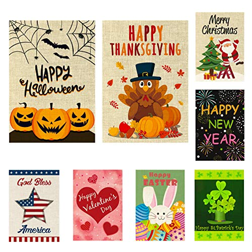 WATINC 8 Pack Seasonal Garden Flags for Happy Halloween Thanksgiving Christmas New Year Holiday Decorations Double Sided Burlap House Flag for Outdoor Yard 12.4 x 18.2 Inch