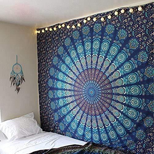 Gutsbox Indischer Wandteppich Wandbehang Mandala Blume Tuch Wandtuch Tapestry Indien Hippie 200x150cm mit 6M USB Led Streifen Boho Stil als Dekotuch Tagesdecke indisch orientalisch Psychedelic