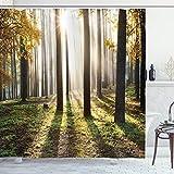 ABAKUHAUS Wald Duschvorhang, Wald Blätter am Sonnenaufgang, Trendiger Druck Stoff mit 12 Ringen Farbfest Bakterie & Wasser Abweichent, 175 x 180 cm, Gelb-grün-Braun
