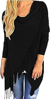 Viottiset Women's Tassel Hem Crew Neck Knited Cardigan Wrap Sweater Coat Outwear