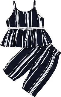 BOIZONTY 2Pcs Toddler Baby Kids Boy Girl Halloween Costumes Outfits Pumpkin Tops T-Shirt Striped Skull Legging Pants Clothes Set
