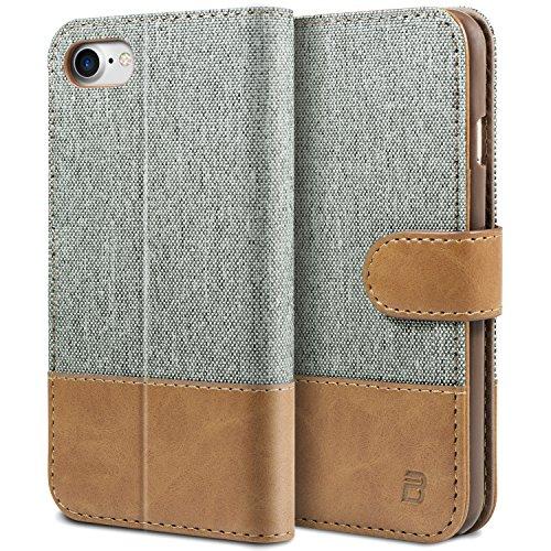 BEZ Hülle für iPhone 8 Hülle, iPhone 7 Hülle, Handyhülle Kompatibel für iPhone 7 Hülle Klappbar, Handytasche Schutzhülle Tasche [Stoff und PU Leder] mit Kreditkartenhaltern - Grau