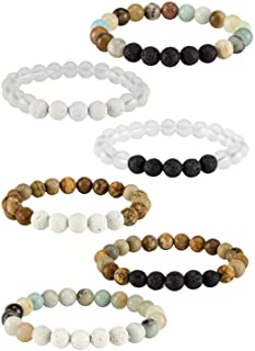Apipi 6 Pack Lava Stone Bead Bracelet,Natural Stones Stretch Bracelets - Aromatherapy Essential Oil Diffuser Healing Crystal Bracelets Christmas gifts for Women Girls (8mm)