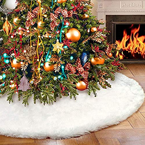 YEAHOME 48 Inch Christmas Tree Skirt, White Soft Faux Fur Tree Skirts Plush Xmas Tree Skirts White Ornaments Christmas Decoration Xmas Party Holiday Decorations