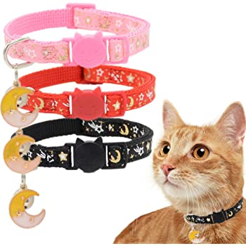 Barleygoo 3PCS Breakaway Cat Collars with Bell Galaxy Element Adjustable Safety Puppy Collar