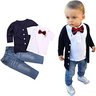 ZLOLIA Baby Clothes Autumn Winter Kids Baby Boy Long Sleeve T Shirt Coat Pants Jeans Outfits (2T, Navy)