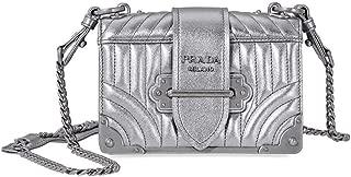 Women's Cahier Metallic Leather Shoulder Bag Silver