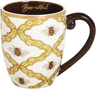 """Cypress Home Metallic Bee-utiful Botanical Garden 18 oz Ceramic Cup O' Joe Coffee Mug or Tea Cup - 4""""W x 5.75""""D x 5""""H"""