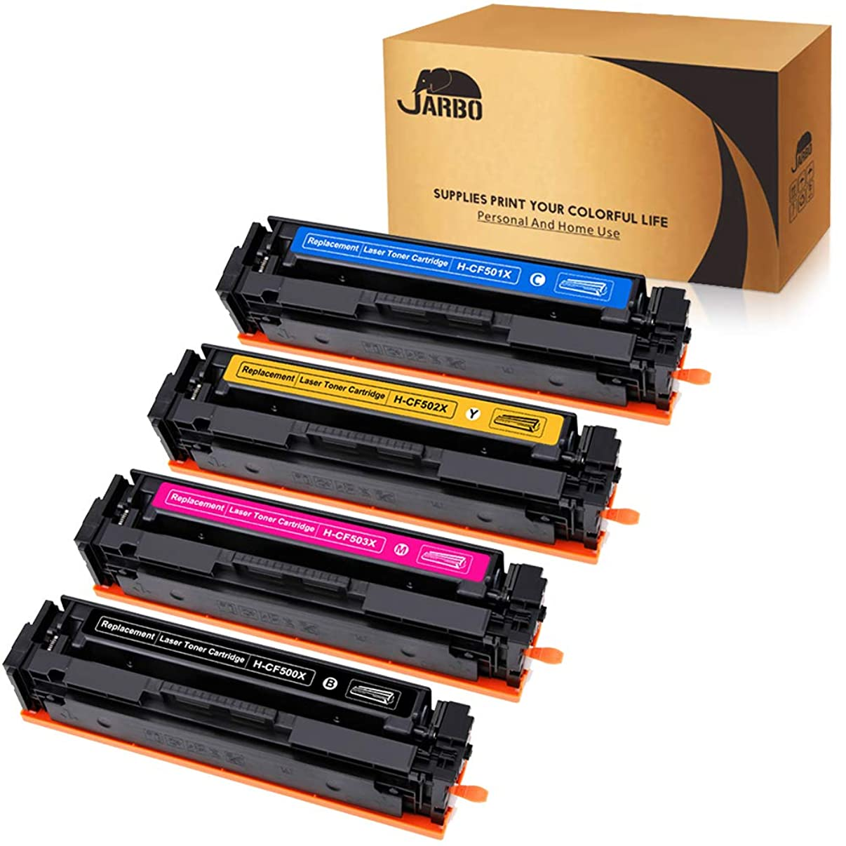 Compatible HP 202X 202A Toner Cartridges, JARBO 1 Set (Black-CF500X, Cyan-CF501X, Yellow-CF502X, Magenta-CF503X), Compatible with HP Laserjet Pro MFP M281fdw M254dw M281cdw M254nw M280nw Printer