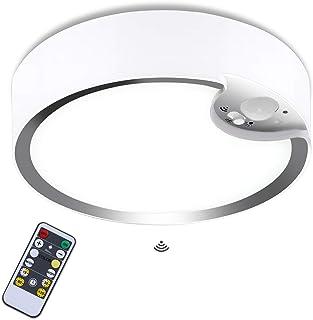 Glighone Plafonnier LED avec détecteur de mouvement fonctionne avec des piles IP64 Rond intérieur extérieur Montage encast...