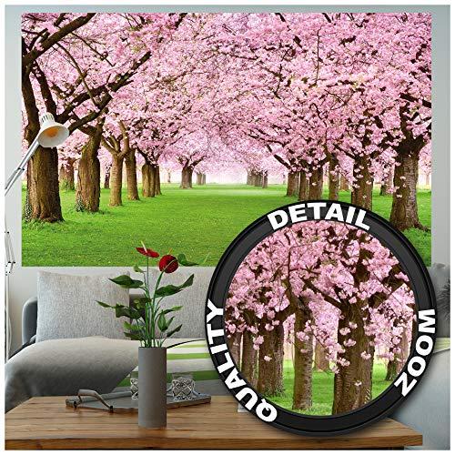 GREAT ART XXL Poster – Kirschblütenbaum – Wandbild Dekoration Frühling Natur Landschaft Allee Cherry Blüten Sakura Bloom Spring Blumen Wandposter Fotoposter Wanddeko Bild (140 x 100 cm)