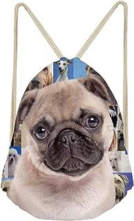 INSTANTARTS Cute Pug Shoulder Swimming Bag Cinch String Sackpack Unisex Drawstring Backpack