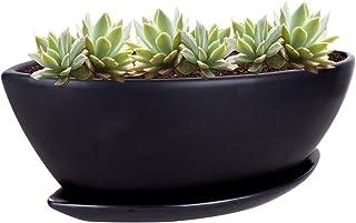 Vencer 12.6 Inch Modern ShipType Minimalist Ceramic Succulent Planter Pot - Window Box with Saucer,Office Desktop Potted S...
