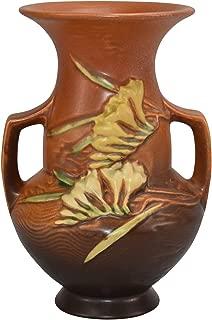 Roseville Pottery Freesia Brown Ceramic Vase 122-8
