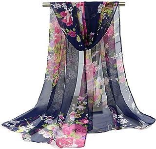 Bullidea Silk Scarf Women's Floral Printing Decoration Chiffon Scarf Beach Thin Shawl Wrap Sunscreen, 1 Pc