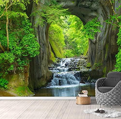 Mural 3D estéreo bosque verde arroyo paisaje foto papel tapiz sala de estar TV sofá telón de fondo pared impermeable-200 * 140 cm
