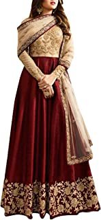 Ethnic Empire Maroon Banglory Silk ANd Net Women's Long Semi Stitched Anarkali Salwar Suits (Ethnic_ER10803_Marron_Free Size)