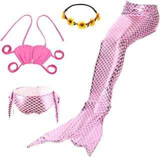 Mskseciy Girls Swimsuit 3Pcs Mermaid Tails for Swimming Costume Party Supplies Swimsuit Swimwear Bikini for 3-12Y
