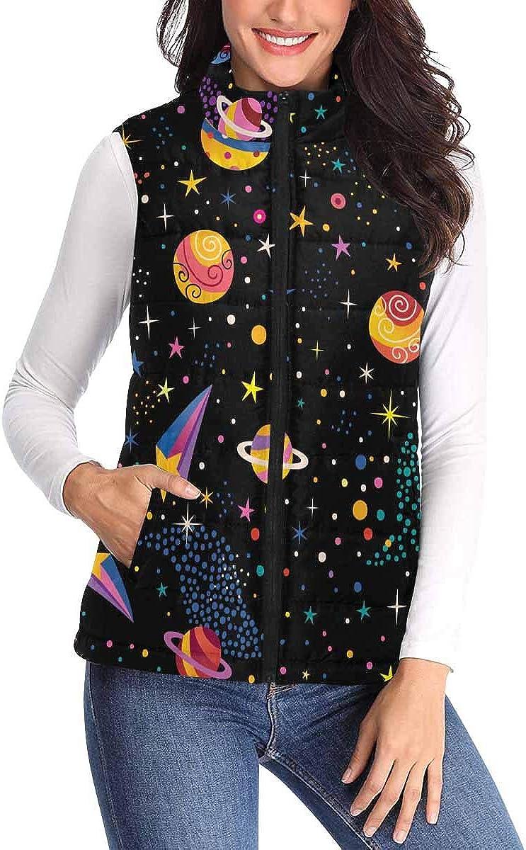 InterestPrint Women Vest Stand Collar Lightweight Padded Winter Outwear Space Cosmos