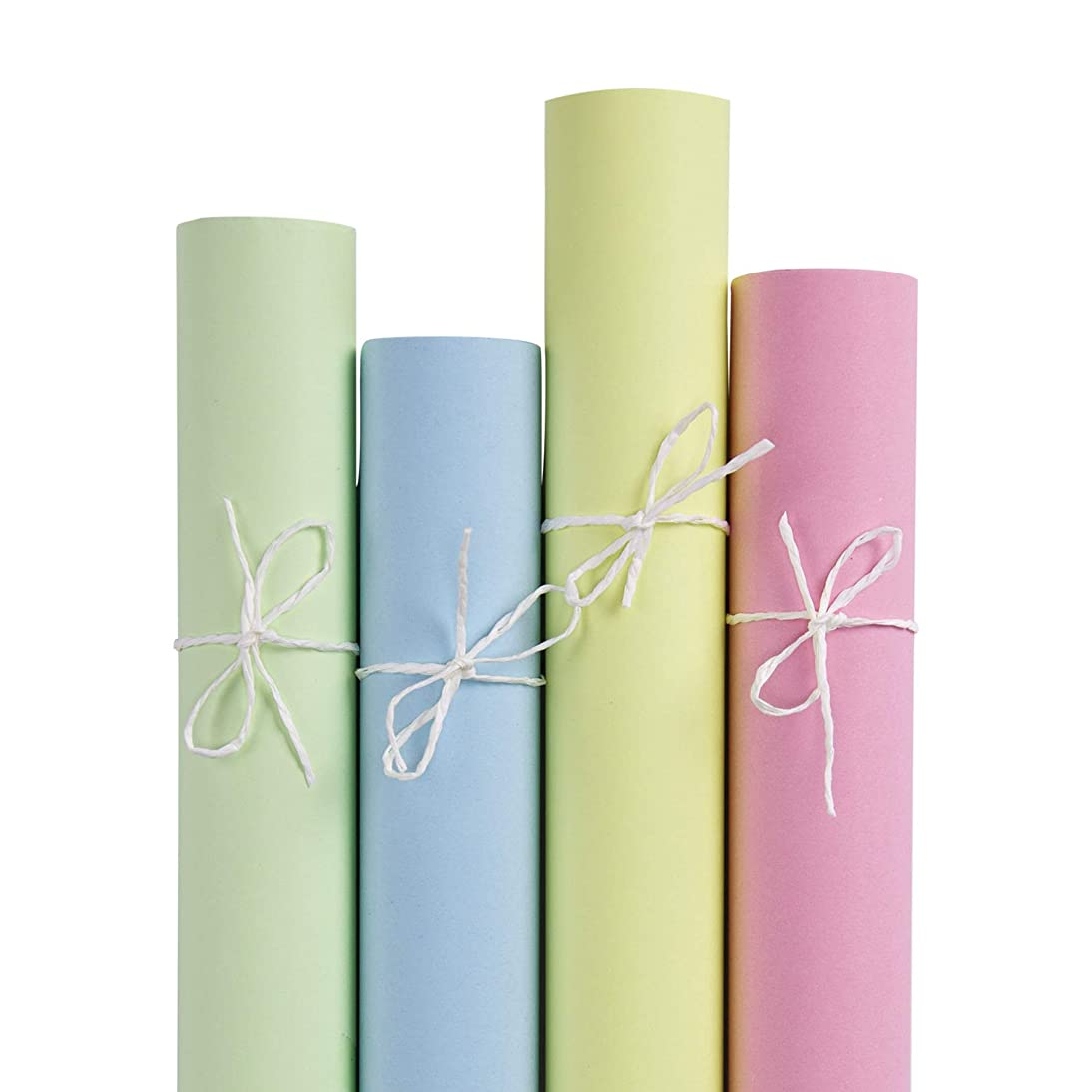 RUSPEPA Kraft Wrapping Paper Set- 4 Roll (Mint,Blue,Pink,Yellow) for for Wedding,Birthday, Shower, Congrats, and Holiday Gifts - 30Inch X 10Feet Per Roll