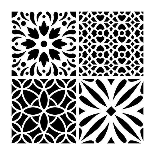 Artemio Diamante Cemento Flores Plantilla Home Déco, plástico, Multicolor, 30,5x 0,2x 35cm