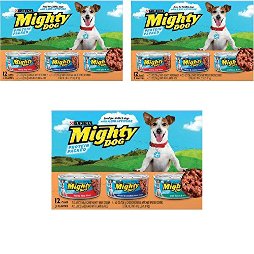 Purina Mighty Dog Mighty Dog Variety Pack. Hearty Beef Dinner, Chicken &Smoked Bacon Combo, Lamb & Rice. 12-5.5 oz Cans