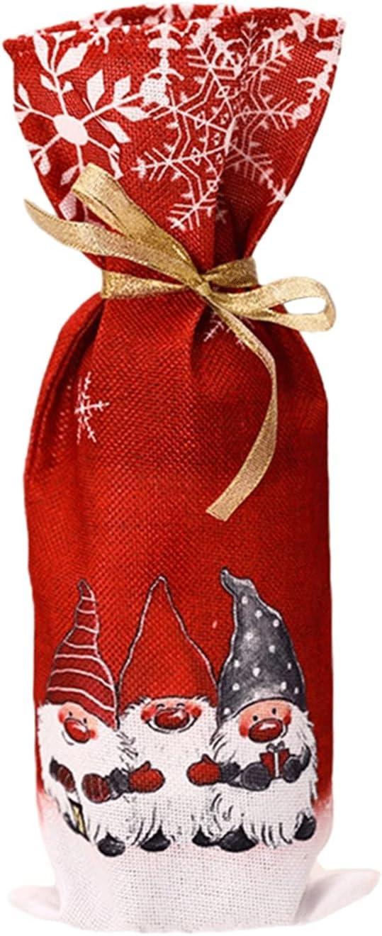 Cubiertas de la botella de vino de Navidad, bolsa de regalo de la bolsa de vino de la tela, cubierta de la botella de vino de la decoración de la mesa de Santa Claus, conveniente para la fiesta de Nav