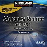 Kirkland Signature Mucus Relief Chest Expectorant (Guaifenesin 400 Mg), 2 bottles of 200-Count Immediate-Release Tablets