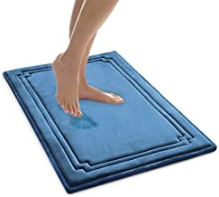 MICRODRY SoftLux Charcoal Infused Memory Foam Framed Bath Mat with GripTex Skid Resistant Base - 21x34 Teal