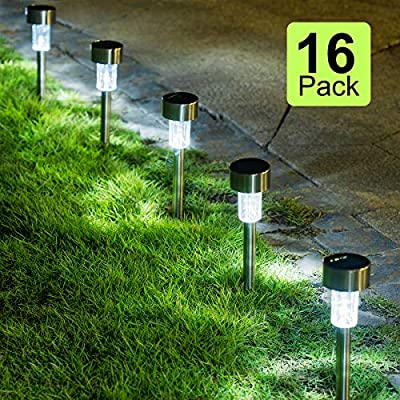 GIGALUMI 16 Pack Solar Path Lights Outdoor,Solar Lights Outdoor Garden Led Light Landscape/Pathway Lights for Patio/Lawn/Yard/Driveway/Walkway (Stainless Steel)