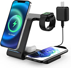 Wireless Charger Stand, SOWINK 4 in 1 Wireless Charging Station for Multiple Devices, Fast Charger for Apple Watch, iPhone 13, 12, Pro, Pro Max, Mini, SE, XS, XR, X, 8, 8Plus, Samsung, AirPods Pro/2