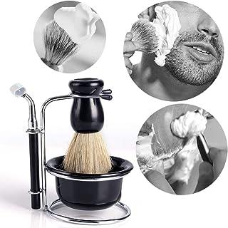 Set de Brochas de Afeitar, Neverland Afeitado Profesional de Limpieza de Barba de Pelo de Tejón Profesional de Fashion, Maquinilla de Afeitar, Tazón Negro, Soporte de Acero Inoxidable Para Hombres