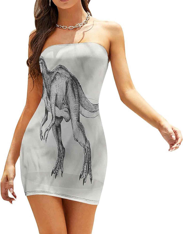 Women's Sleeveless Sexy Tube Top Dress Pop Art Geometric Pines Dresses