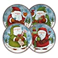 Pfaltzgraff Evergreen Ernie Santa Salad Plates, Set of 4