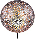 Solarleuchte antike Leuchtkugel mit Dekorgeflecht für den Garten - Außen Deko Solarlampe LED Gartenlampen Solar Silber (Erdspieß Dekoleuchte Antik Optik Große Kugel Durchmesser 40 cm)