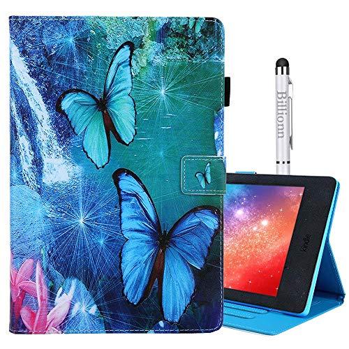 Billionn Hülle für Amazon Kindle Fire HD 10 (7th Gen, 2017 Freisetzung) mit Auto Schlaf/Wach-Funktion, Blauer Schmetterling
