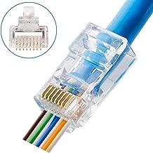 CAT6 Connectors RJ45 Pass Through Connectors 50pcs 3 Prong Ethernet Gold Plated Network Ends Plug Cable Connectors for CAT6 CAT5E Cable Option: 50pcs and 100pcs