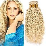 Zara Hair 613 Blonde Water Wave Hair Bundles Wet and Wavy Bleach Blonde Human Hair Weave 3/4 Bundles 8A Platinum Blonde Brazilian Curly Virgin Hair Weft Extensions Mixed Length (12 14 16 Inch)