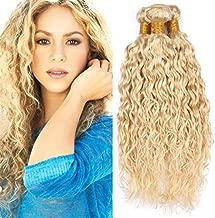 Zara Hair 613 Blonde Water Wave Hair Bundles Wet and Wavy Bleach Blonde Human Hair Weave 3/4 Bundles 8A Platinum Blonde Brazilian Curly Virgin Hair Weft Extensions Mixed Length (28 28 28 Inch)