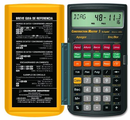 Calculated Industries 4054 Construction Master 5 en Espanol Construction Feet-Inch-Fraction Calculator for Carpenters [Calculadora de construcción con pies, pulgadas y fracciones para carpinteros]