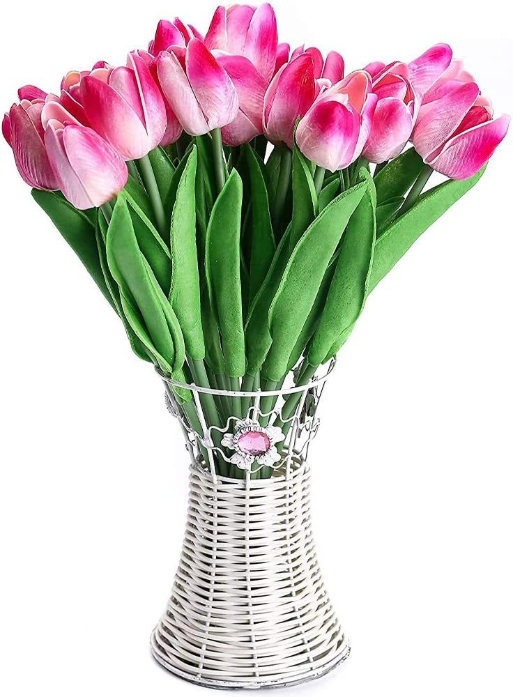 30pcs Real Touch Tulips Double Pink PU Tulips Artificial Flowers for Wedding Home Centerpiece Decoration