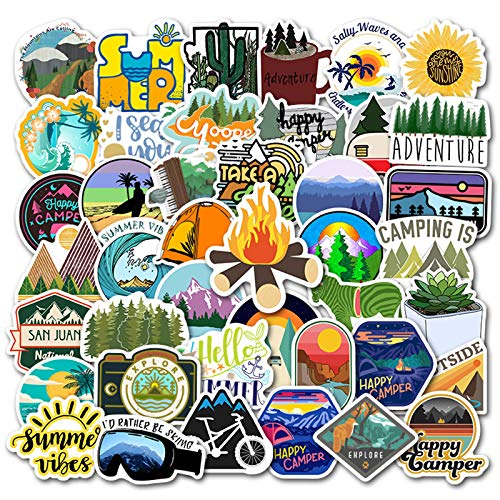 Go Camping Stickers 50 Pack Waterproof Decals for Scrapbooking Journaling Laptop Phone Case Water Bottle Home Decor (Go Camping)