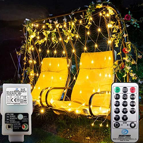 DreiWasser Lichternetz 1,5x1,5m, 100 LEDs Lichterkette mit 31V Europlug für Weihnachten, Party, Geburtstag, Hochzeit Innen(Warmweiß(1,5 * 1,5))