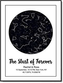Personalized Star Maps Constellation Charts | Star Map Name Date Custom Poster | Wedding Anniversary Birthday Gift