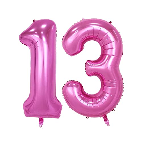 40inch Pink Number 13 Jumbo foil Helium Balloons for Bithday Party Festival Decorations Photo Props (Pink 13)