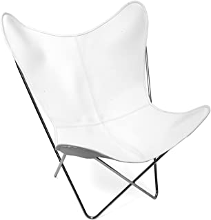Classic Cover Cowhide Leather BKF Butterfly Chair - Only Cover. (White)