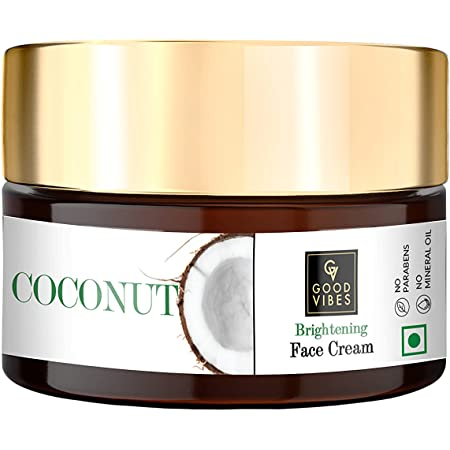 Good Vibes Coconut Brightening Face Cream 100 g, Skin Moisturizing Hydrating Non Greasy Light Weight Formula for All Skin Types, Natural, No Parabens & Sulphates, No Animal Testing