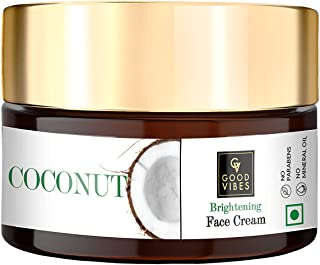 Good Vibes Coconut Brightening Face Cream 100 g, Skin Moisturizing Hydrating Non Greasy Light Weight Formula for All Skin ...